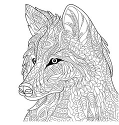 Wolf coloring page vector