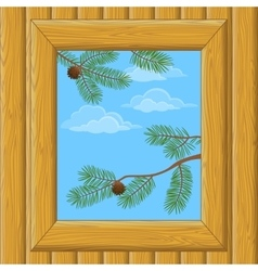 Wood Window with Pine Branches vector