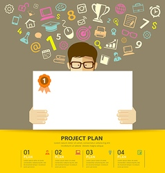 Business plan white paper in hands man vector image vector image
