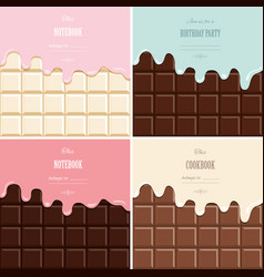 cream melted on chocolate bar background set cute vector image vector image