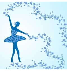 Greeting card with tender ballerina and flowers vector image