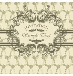 Vintage invitation card with calligraphic frame vector image vector image