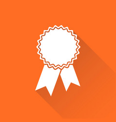 Badge with ribbon icon in flat style on orange vector