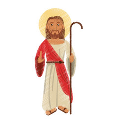 drawing jesus christ with stick design vector image vector image