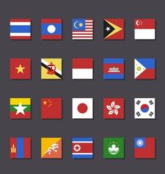 East Asia flag icon set Metro style vector image