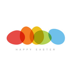 happy easter - minimalist colorful easter card vector image vector image