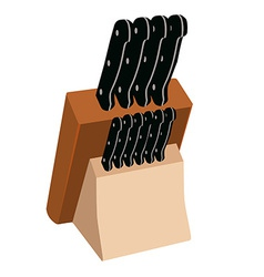 Kitchen knives in holder vector image vector image