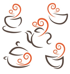 set icon of cupteapotpotbowls vector image