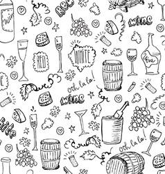 Wine sketch seamless pattern vector image
