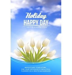 Bright card with tulips vector image