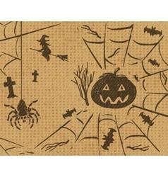 Halloween sketch design set on retro grunge vector