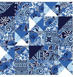 hawaiian vintage hibiscus fabric patchwork vector image vector image