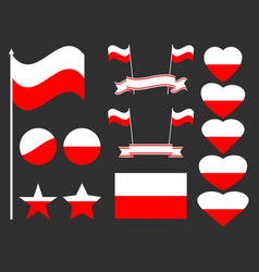poland flag set collection of symbols flag vector image