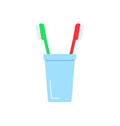 tooth brushes in glass vector image