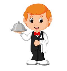waiter restaurant serving cartoon vector image