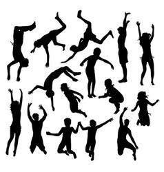 Activities Kids Playing Pool Silhouettes vector image