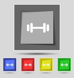 barbell icon sign on original five colored buttons vector image vector image