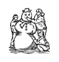 happy mother and two children building snowman vector image