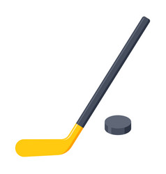 hockey stick and puck vector image vector image