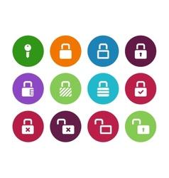 Locks circle icons on white background vector image
