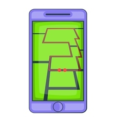 Mobile phone with sport app icon cartoon style vector image