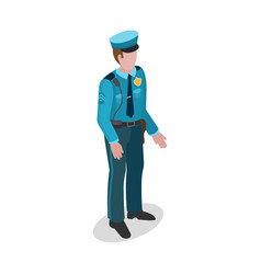 policeman in uniform 3d isometric style vector image vector image