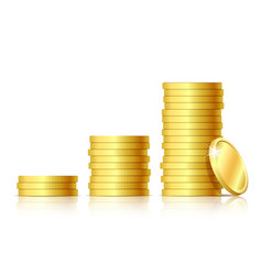 stacks of golden coins vector image vector image