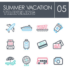 traveling icon set summer vacation vector image vector image
