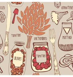 Vintage Gourmet Cooking Pattern vector image vector image