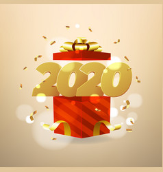 2020 numbers and red gift boxes opening vector image