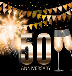 50 anniversary emblem template design background vector image