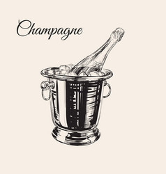 A bottle of champagne in a bucket with ice vector
