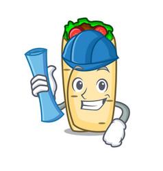 architect burrito character cartoon style vector image