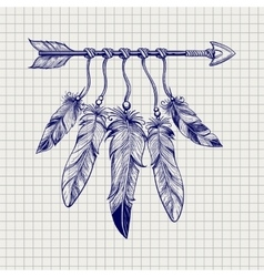 Arrow with feathers on notebook page vector image