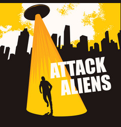 banner on theme aliens attack with a flying vector image