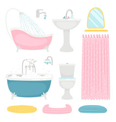Basic bathroom design elements vector