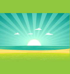 Beach beyond the fields vector