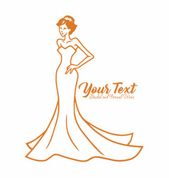 beauty bridal wedding wear boutique logo vector image