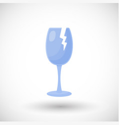 broken wine glass flat icon vector image