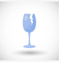 Broken wine glass flat icon vector