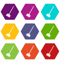 Broom icon set color hexahedron vector