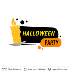 burning candle and halloween text vector image