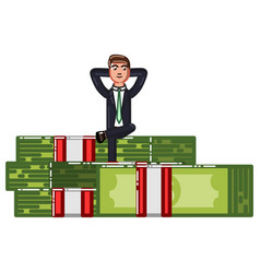 Business man siting on pack of money vector