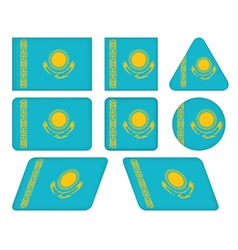 buttons with flag of Kazakhstan vector image