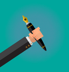 Calligraphy pen in a writer male hand vector