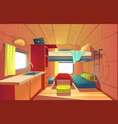 Camping trailer car interior with loft bed rv home vector