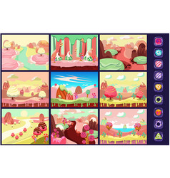 Candy land collection fairy tale landscapes vector