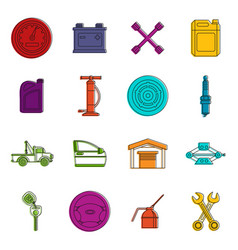 car maintenance and repair icons doodle set vector image