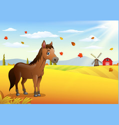Cartoon brown horse in the autumn weather vector