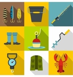 Catch fish icons set flat style vector